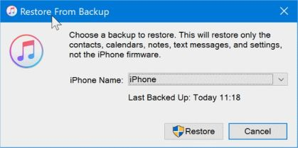 restore backup data,how to restore backup data for iphone using windows10